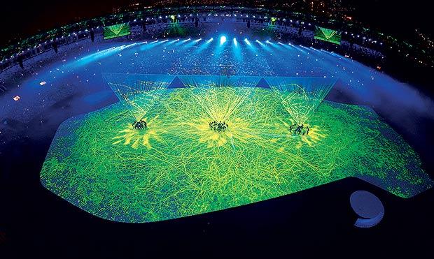 Projeção mapeada na abertura das Olimpíadas Rio 2016